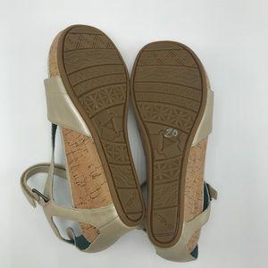 844490c2a0d7 Teva Shoes - TEVA Capri Leather Cork Wedge Sandals Ivory